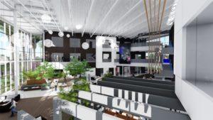 Rendering of new Viasat campus interior