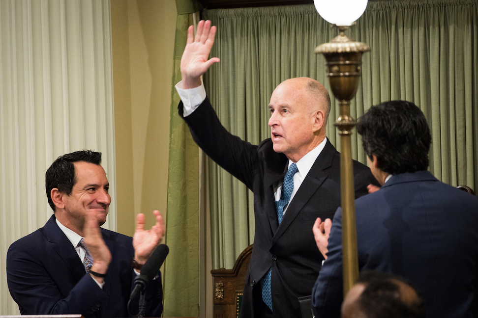 Gov. Jerry Brown delivered his final State of the State speech on Thursday. (Photo by Max Whittaker for CALmatters)