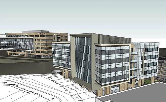 Rendering of Watermark Building 2, a second corporate headquarters building for MedImpact, shown in the foreground above.