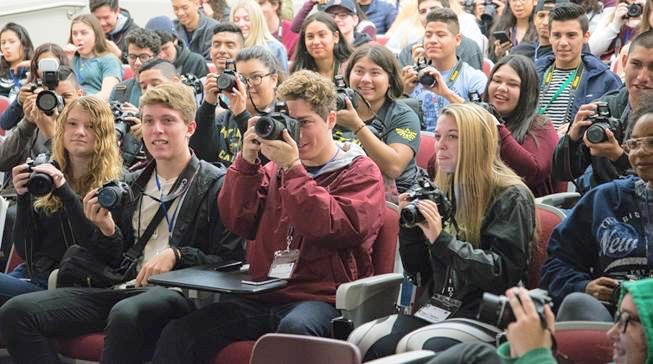 File photo from 2017 Photo 360 event at San Diego City College which drew 180 San Diego Unified students. Each participant will receive a DSLR camera for the day.