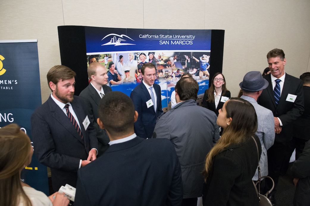 Students presenting their work at last month's Senior Experience Trade Show.