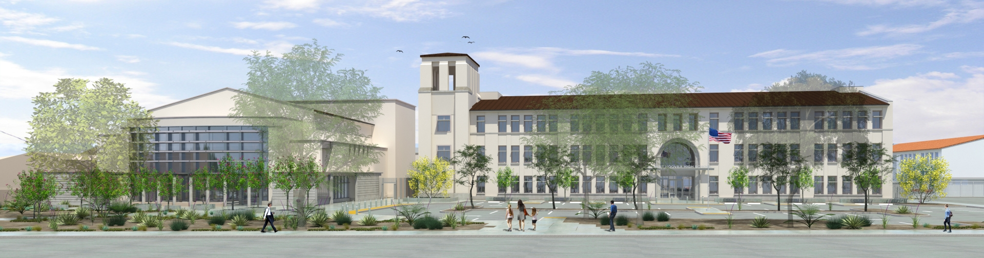Rendering for the new buildings at Hoover High designed by AVRP Skyport